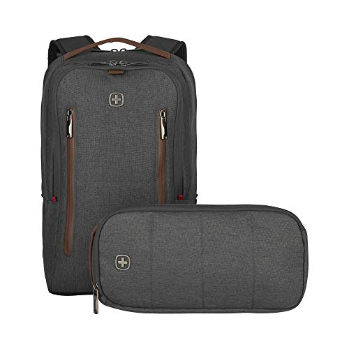 Wenger 606489 City Upgrade 16' 2 - Piece Laptop Backpack, Padded Laptop Compartment and Cross Body Bag in Grey, 15 L