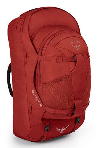 Osprey Farpoint 70 Men's Travel Pack with 13L Detachable Daypack - Jasper Red (M/L)