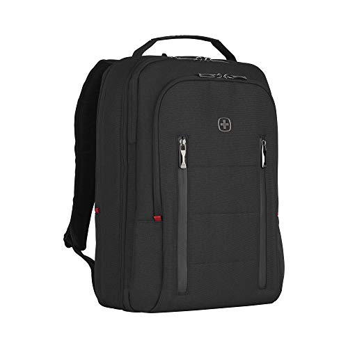 Wenger 606490 City Traveler 16' Travel Laptop Backpack, Padded Laptop Compartment with Expandable Overnight Packing Compartment in Black {24 litres}