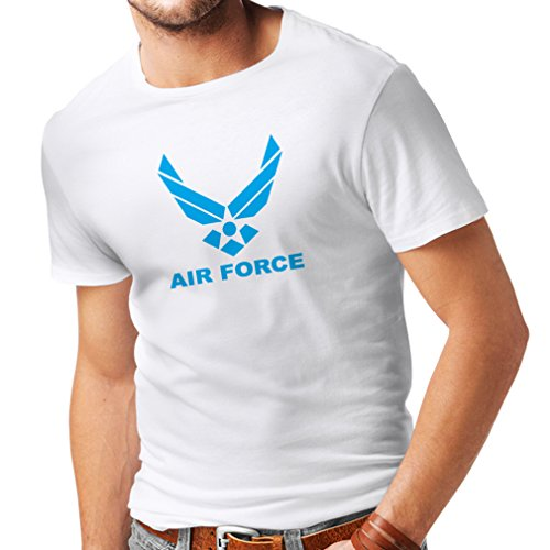 lepni.me Camisetas Hombre United States Air Force (USAF) - U. S. Army, USA Armed Forces (Large Blanco Azul)